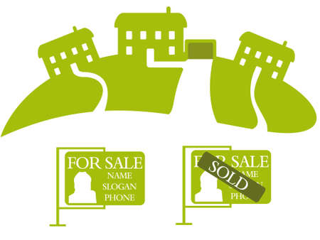 Three green houses for sale Illustration