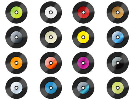 disk jockey: Many colorful vinyls