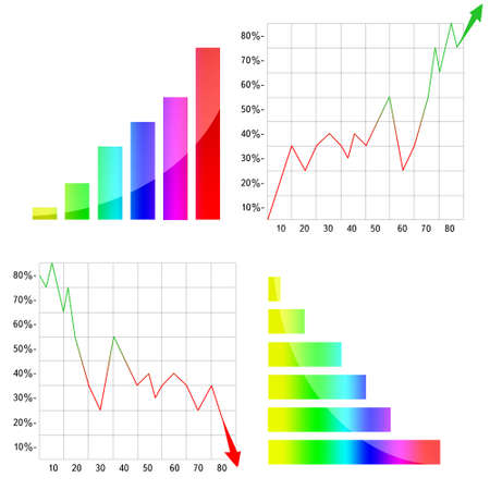 Colorful graph  diagram with arrow