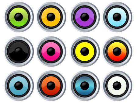 Many colorful speakers Stock Photo