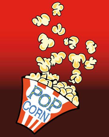 fresh pop corn: Popcorn in a box on red Illustration
