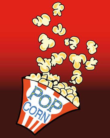 popcorn: Popcorn in una scatola su sfondo rosso Vettoriali
