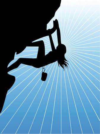 climbing mountain: A climbing woman Illustration