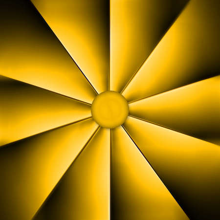 A yellow fan on dark background Stock Photo