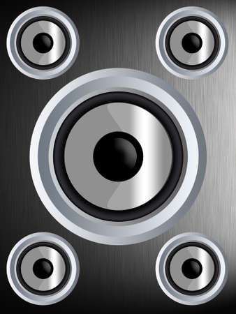 hi fi system: Speaker on a silver metal texture Stock Photo
