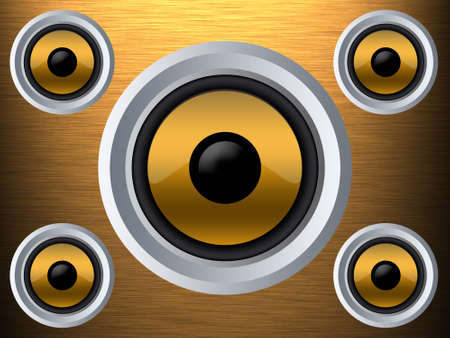 hi fi system: Speaker on a gold metal texture