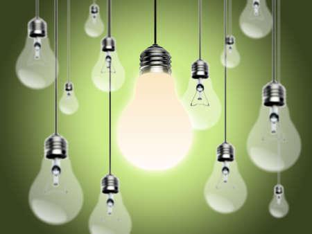 Light bulbs with Idea Conzept