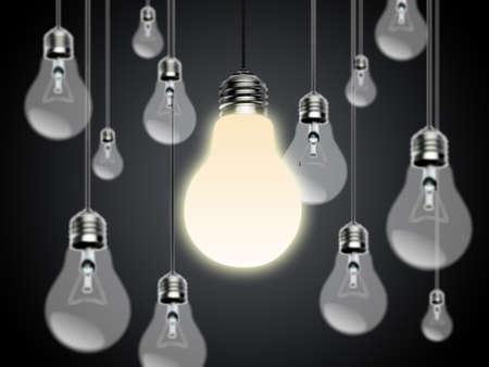 Light bulbs with Idea Conzept photo
