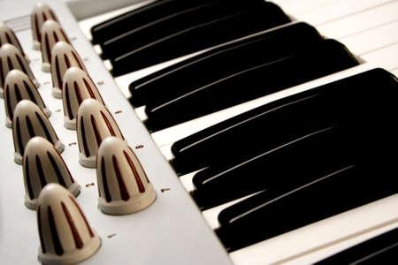 Piano keys of a modular synthesizer