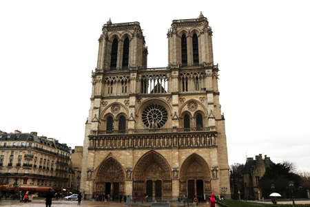 Notre Dame Cathedral - Paris, France - on a rainy day Editorial