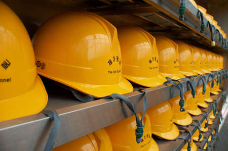 hard hats: Hard hats that tourest must wear for safey during all tours of the