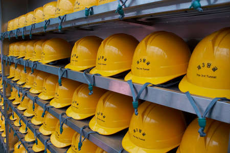 Hard hats that tourest must wear for safey during all tours of the  photo
