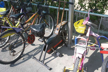 aging: Aging exercise bike is left behind.