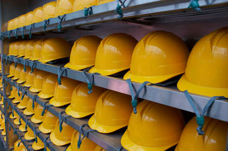 hard: Hard hats that tourist must wear for safety during all tours of the