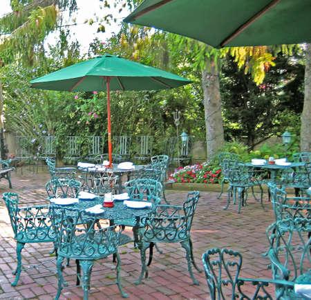 Outdoor restaurant patio.