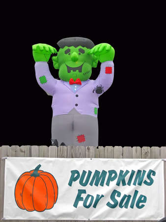 Pumpkins for sale sign on fence with Frankenstein Monster balloon.