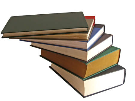 hardcover: Stack of hardcover books, stacked at twisted angles. Stock Photo