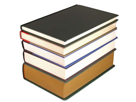 Stack of hard cover books on a white background. Banco de Imagens