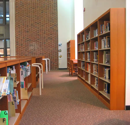 School Library with Bookshelves and High Ceiling.