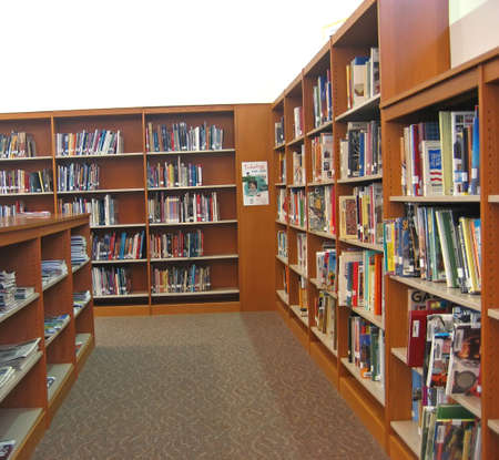 School Library with Bookshelves, Books and Magazines.