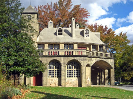 roomy: Moravian Mansion on a Crisp Autumn Day Stock Photo