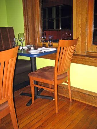 Corner Table in a Gourmet Bistro Imagens