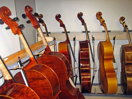 Row of Cellos in a Music Classroom