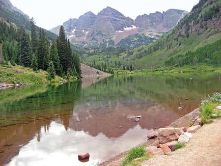 Maroon Bells in the Rocky Mountains near Aspen, CO
