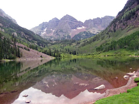 Lake in a park in the Rocky Mountains