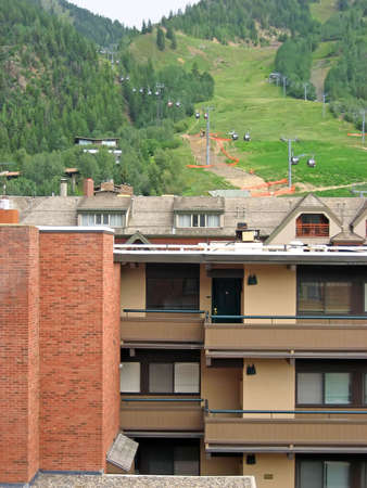 Mountain condo view with gondola in background. Imagens