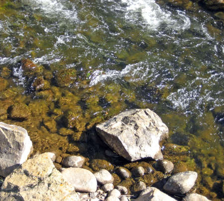 Water rushing over rocks near the bank of a mountain stream. Imagens