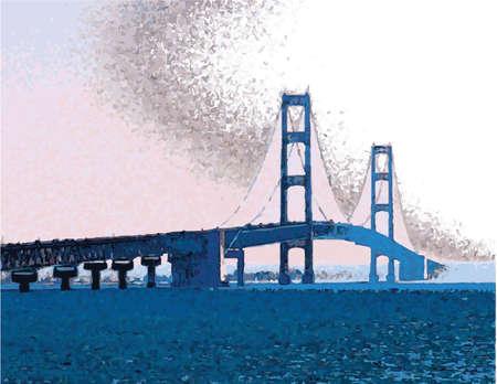 waterway: hinac Bridge_Vector Illustration
