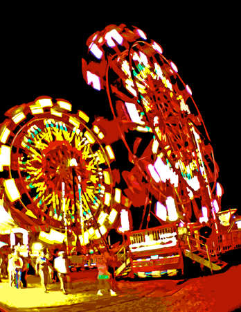 amusement park rides: Carnival Rides at Night_Vector