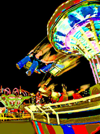Carnival Ride at Night_Vector Ilustrace