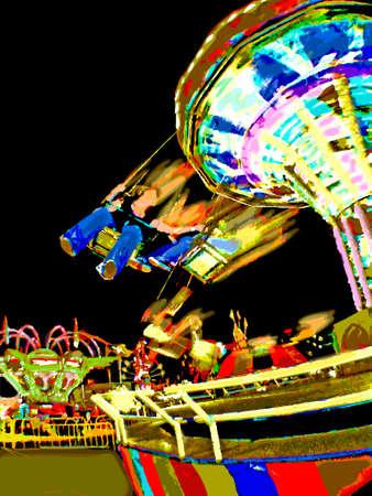 carny: Carnival Ride at Night_Vector Illustration