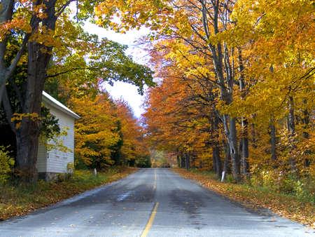 Quiet Autumn Road Stok Fotoğraf