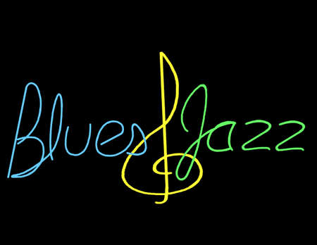 Illustration of a Blues & Jazz Neon Design using a treble clef for an ampersand. Font is hand drawn original Ilustrace