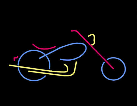 9 Line Illustration of a Motorcycle Chopper Neon Design Illustration
