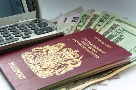 Phone, passport, and money photo