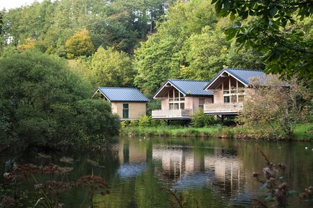 frontage: wood cabins in forest park with lake frontage