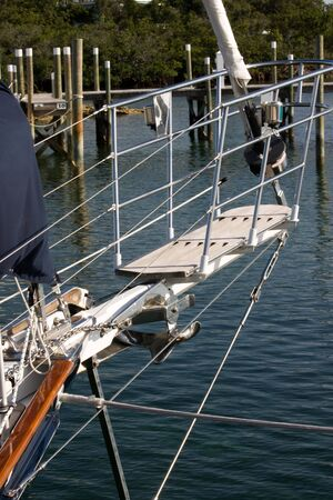 guardrails: details of pulpit area of sailing yacht Stock Photo