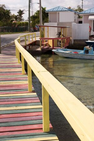 pastel shades: multi coloured wooden footpath in pastel shades Stock Photo