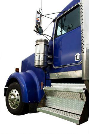 large doors: large heavy blue truck isolated on white Stock Photo
