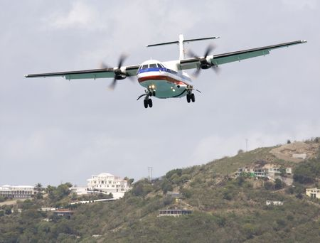 turboprop: twin engine turboprop aircraft approaching to land