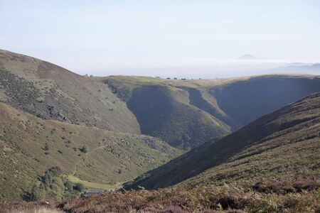 moors: valley on the moors with low cloud and mist in the distance Stock Photo
