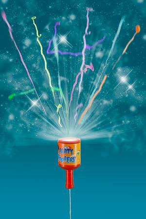Exploding party popper 版權商用圖片