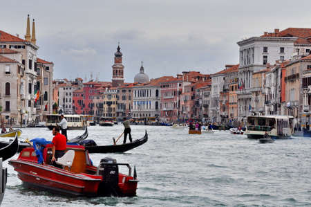 Venice, Italy - September 22, 2015 - Gondolas on the canals in Venice.