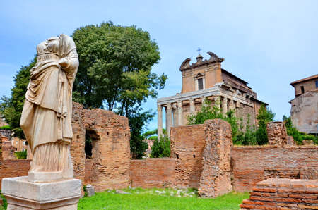 Temple of Antonino and Faustina in the Roman Forum, Rome, Italy Stock Photo