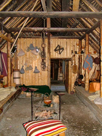 Newfoundland, CA:  L'Anse aux Meadows on June 24, 2011.  Re-creation of a Viking timber-and-sod-longhouse (interior).