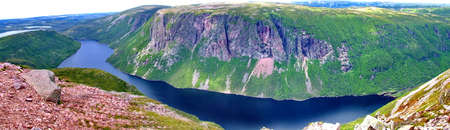 Panoramic Vista at top of Gros Morne Mountain, Newfoundland Stock Photo - 104670932